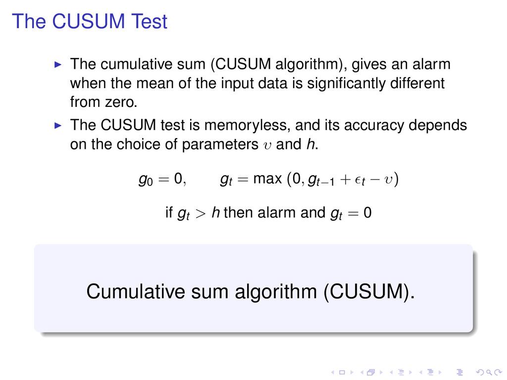 The CUSUM Test The cumulative sum (CUSUM algori...