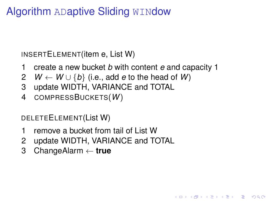 Algorithm ADaptive Sliding WINdow INSERTELEMENT...