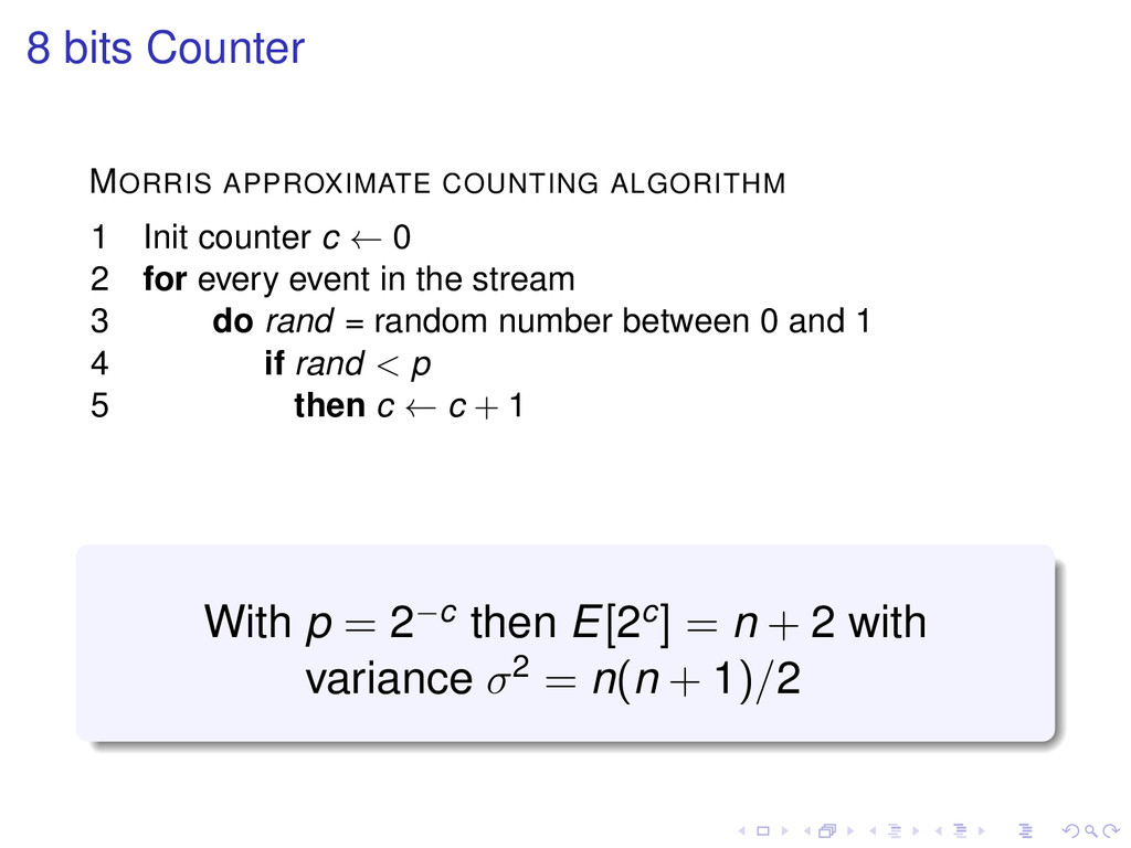 8 bits Counter MORRIS APPROXIMATE COUNTING ALGO...
