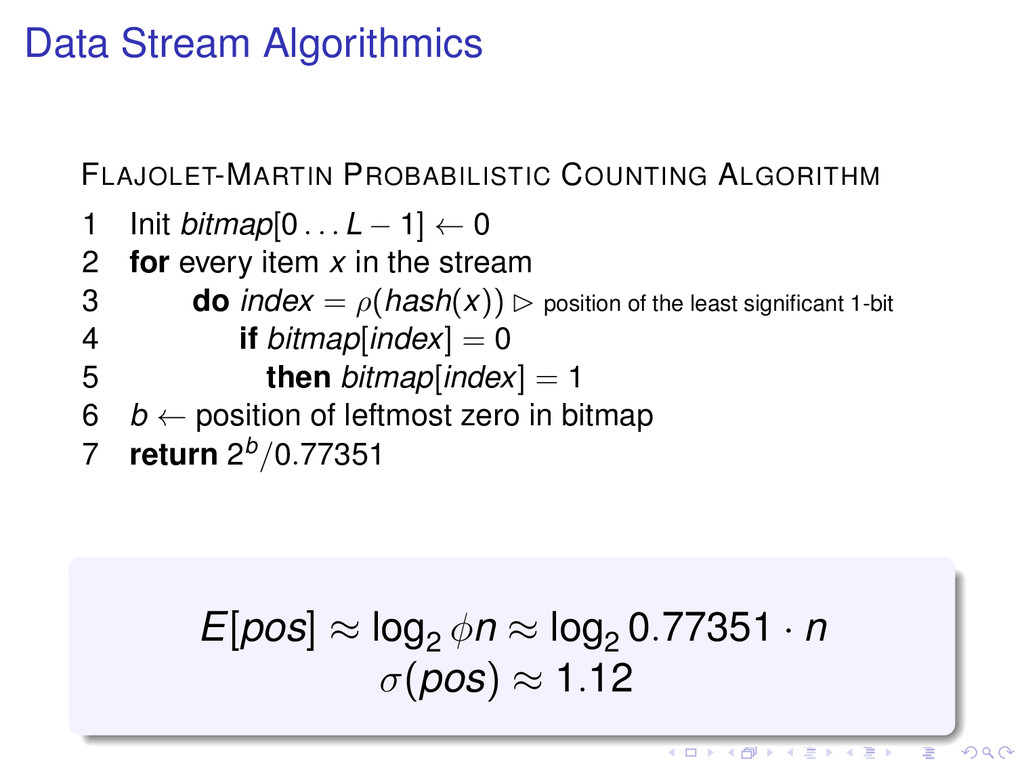 Data Stream Algorithmics FLAJOLET-MARTIN PROBAB...