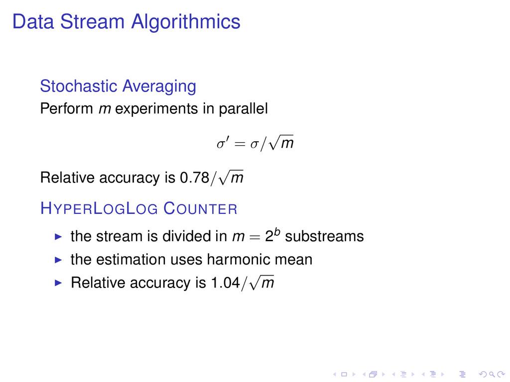 Data Stream Algorithmics Stochastic Averaging P...