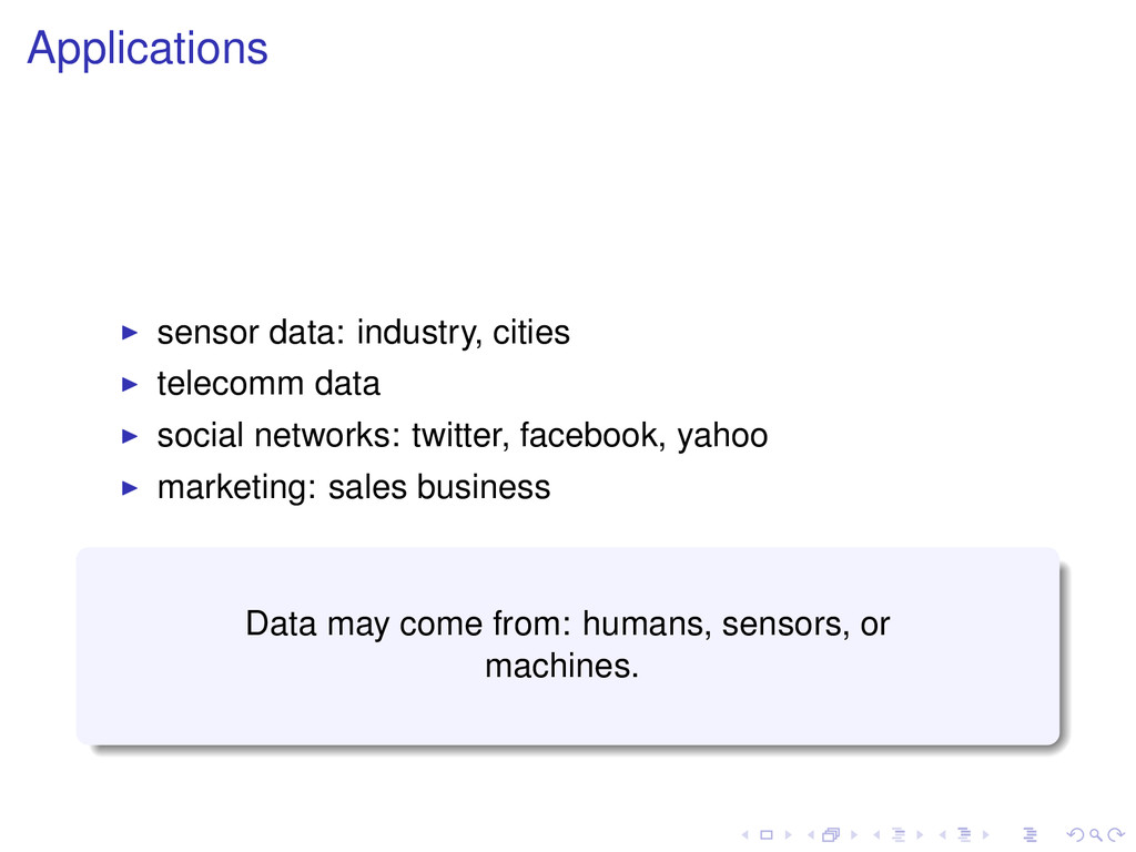 Applications sensor data: industry, cities tele...