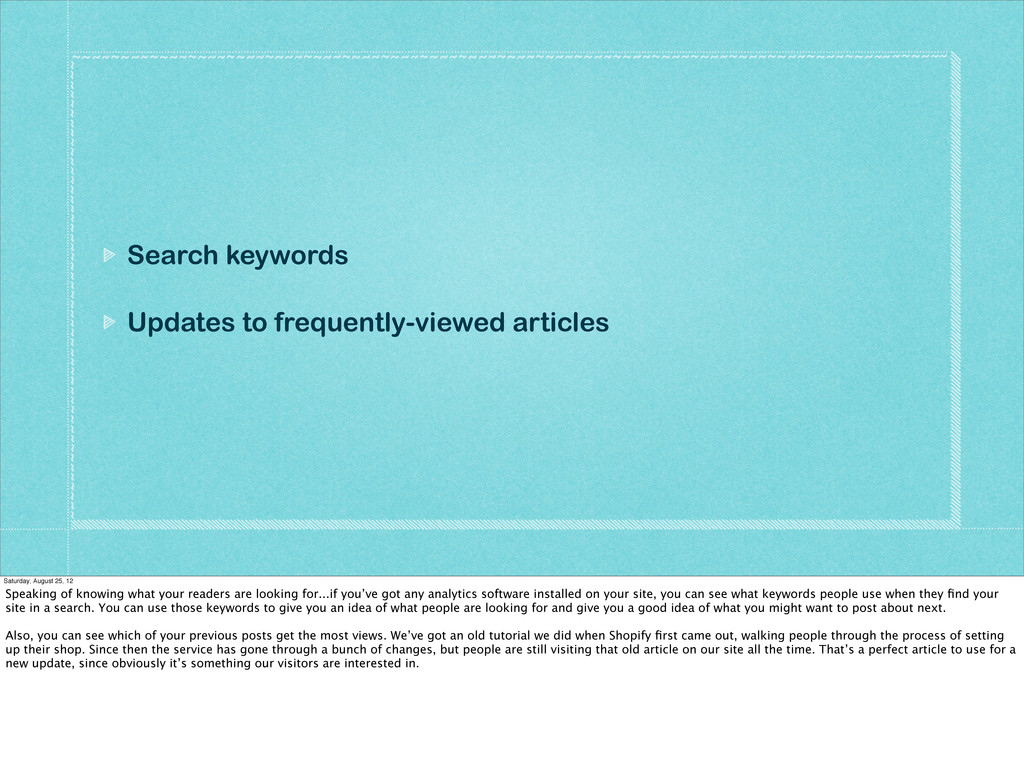 Search keywords Updates to frequently-viewed ar...