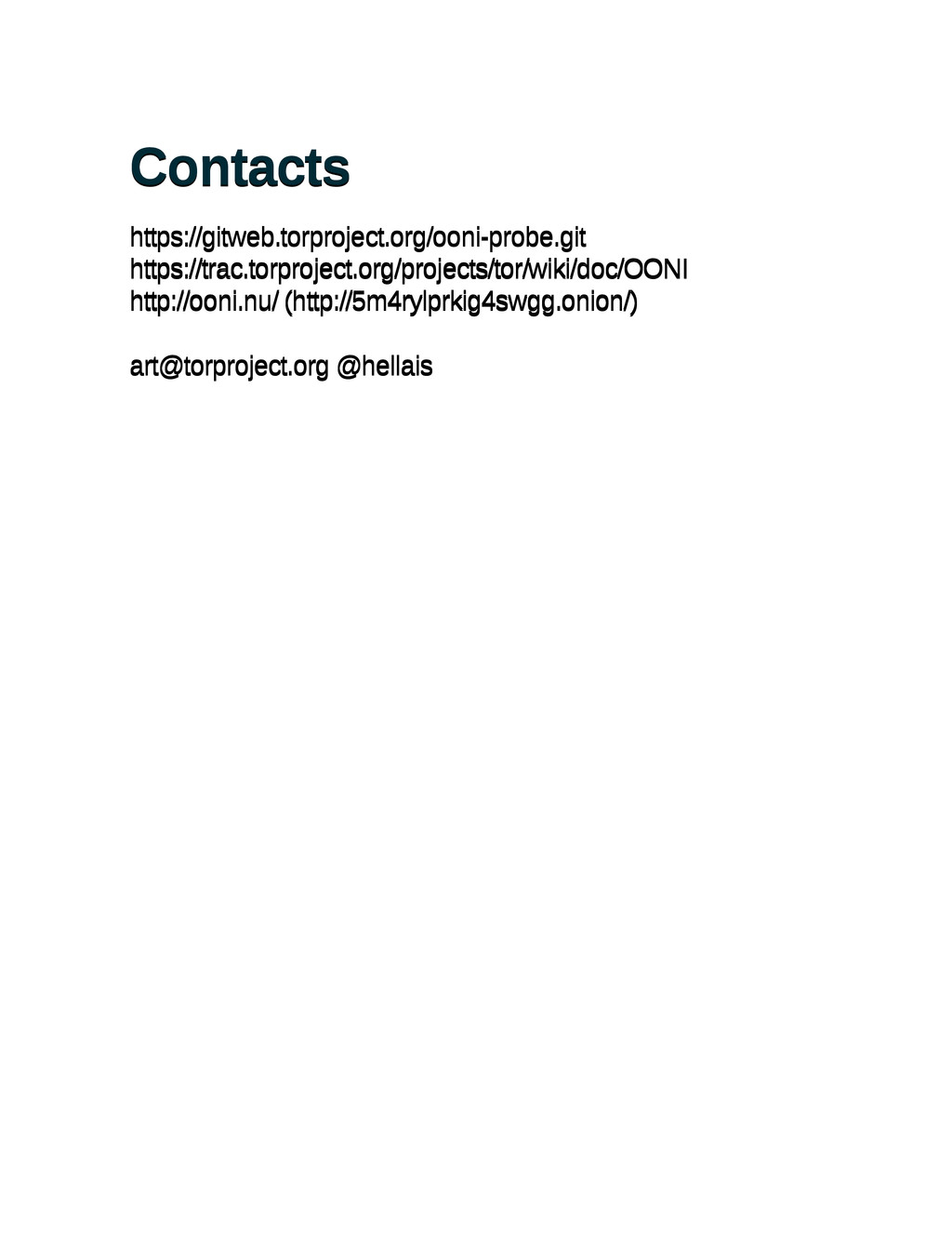 Contacts Contacts https://gitweb.torproject.org...