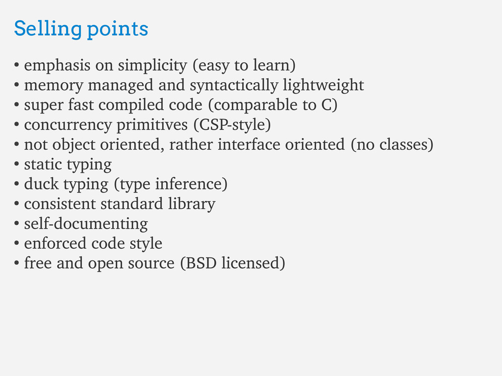 Selling points Selling points ● emphasis on sim...