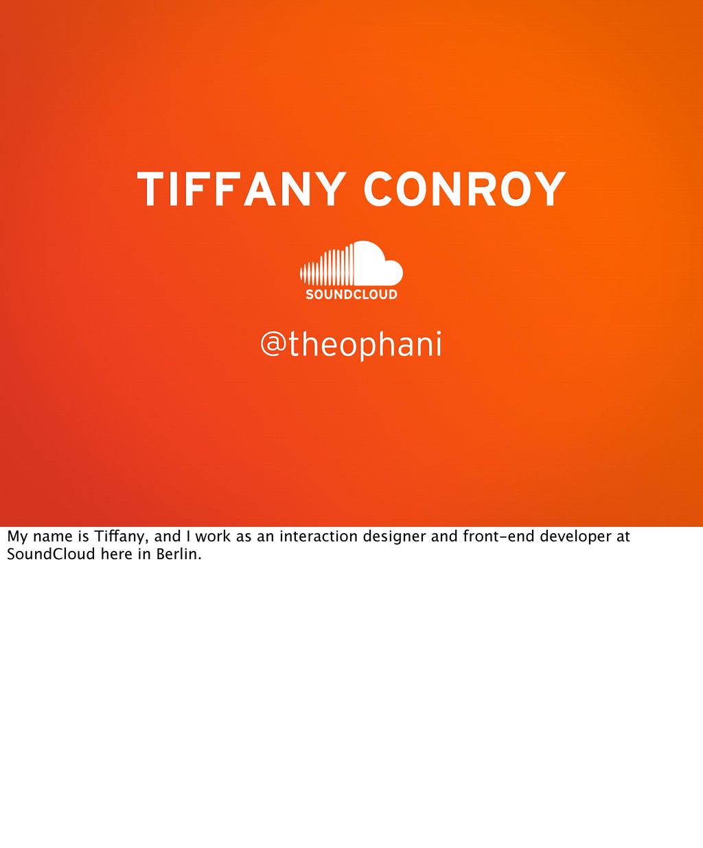 @theophani TIFFANY CONROY My name is Tiffany, a...