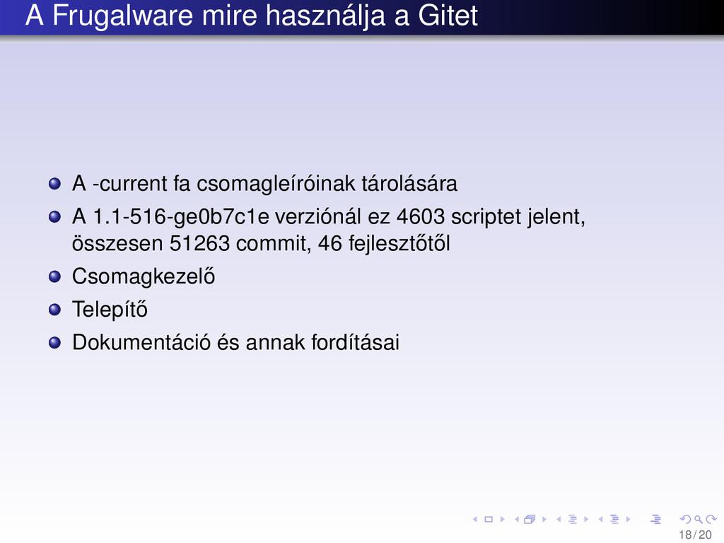 A Frugalware mire használja a Gitet A -current ...