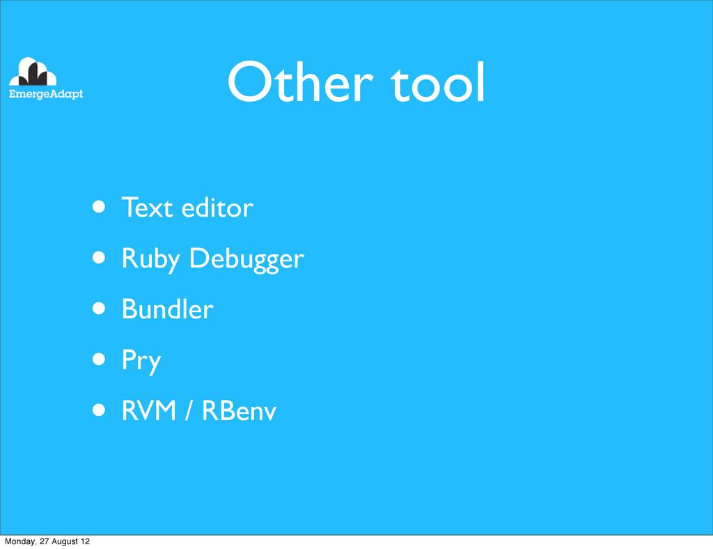 Other tool • Text editor • Ruby Debugger • Bund...