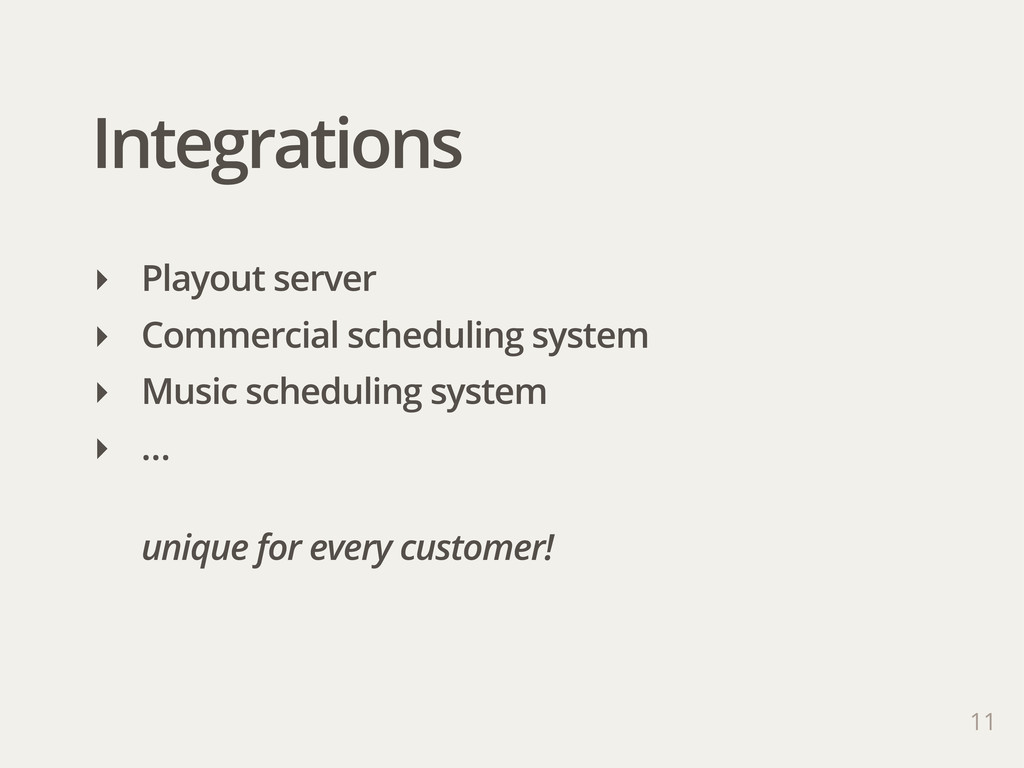 Integrations 11 ‣ Playout server ‣ Commercial s...