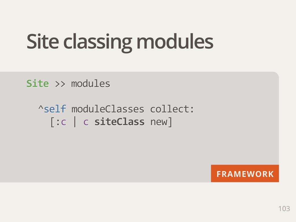 FRAMEWORK Site classing modules 103 Site >> m...