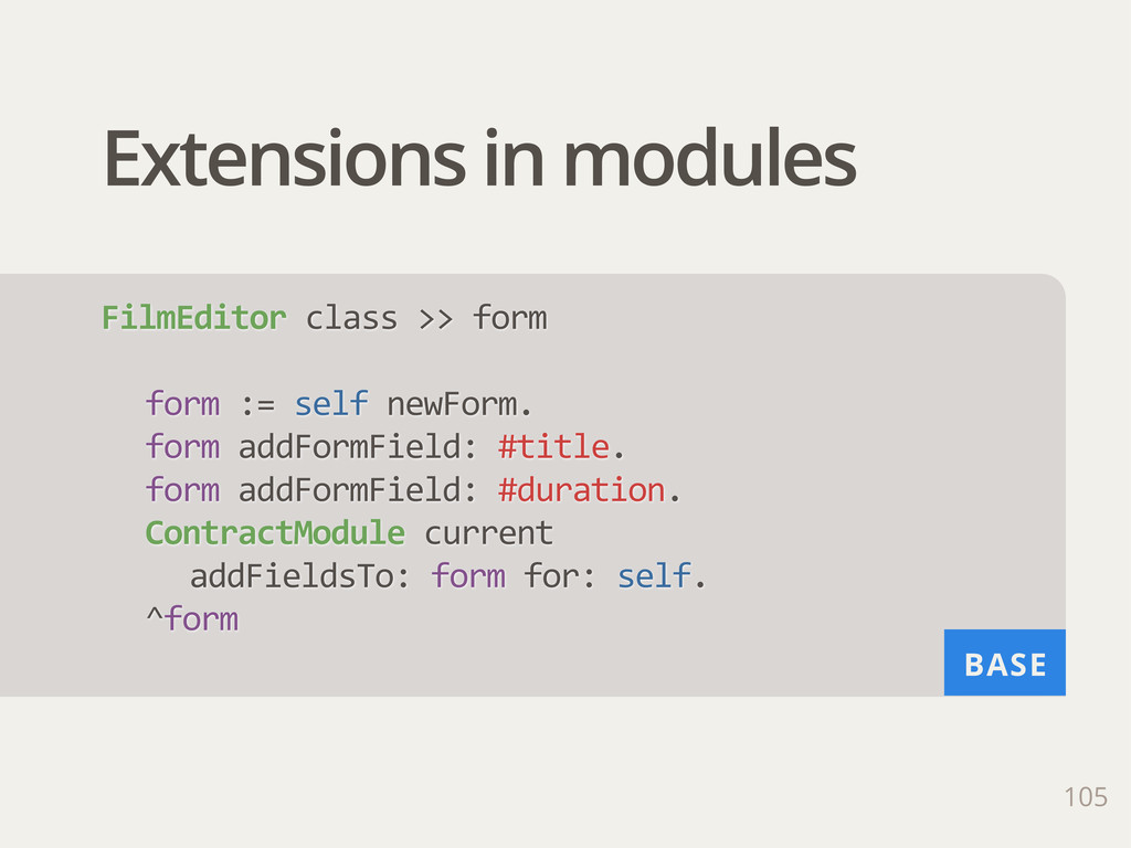 BASE Extensions in modules 105 FilmEditor clas...