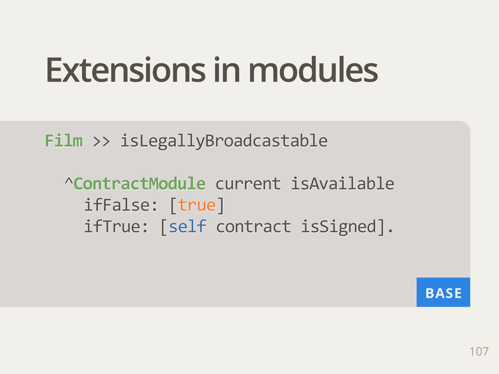 BASE Extensions in modules 107 Film >> isLega...