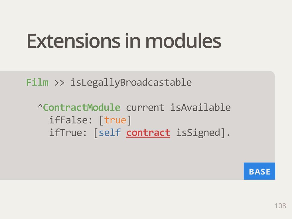 BASE Extensions in modules 108 Film >> isLega...