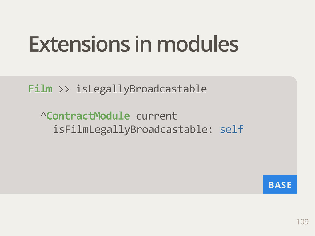 BASE Extensions in modules 109 Film >> isLega...