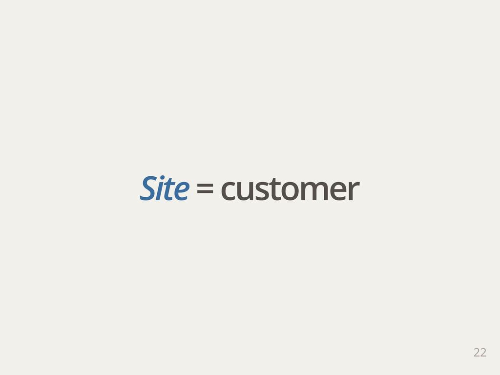 Site = customer 22