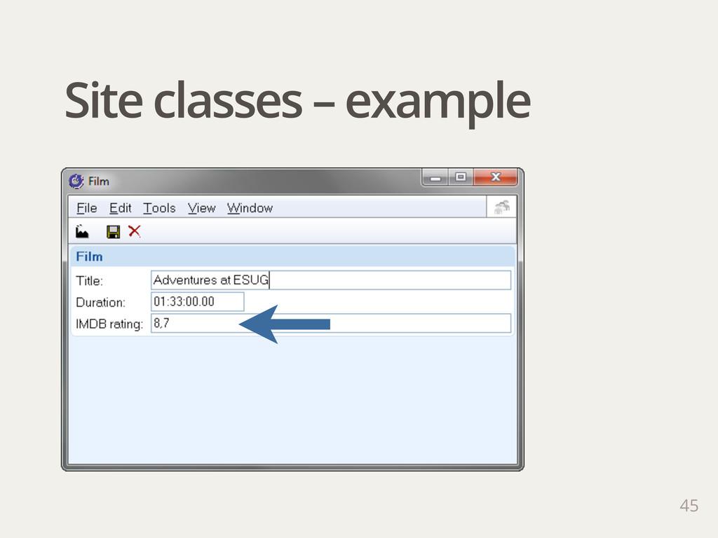 Site classes – example 45