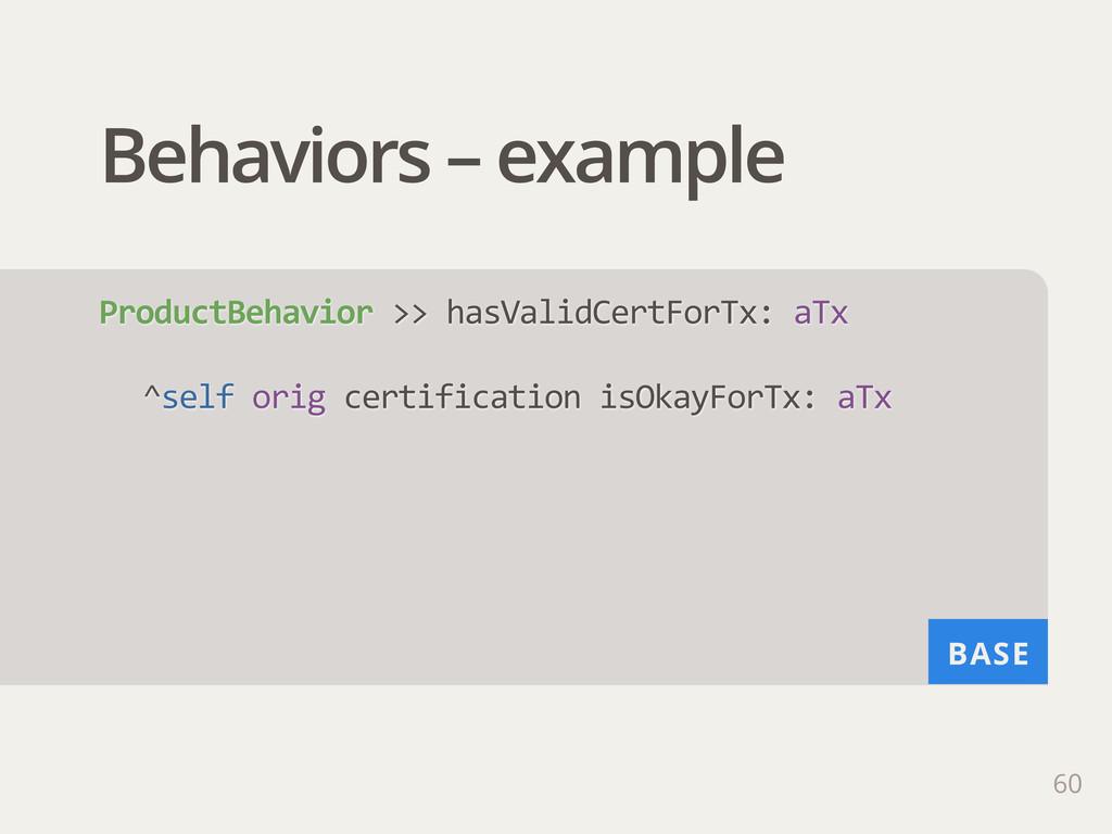 BASE Behaviors – example 60 ProductBehavior >>...