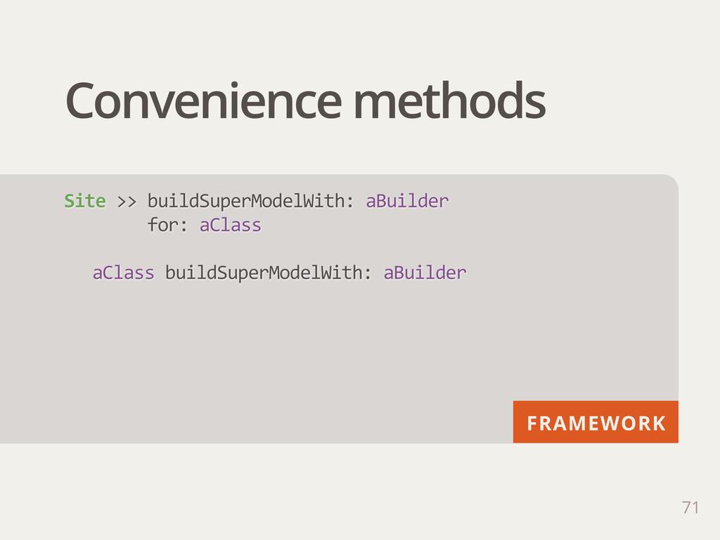 FRAMEWORK Convenience methods 71 Site >> buil...