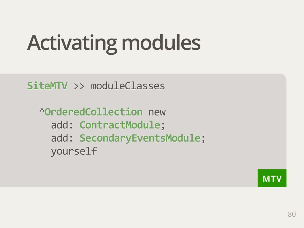 MTV Activating modules SiteMTV >> moduleClass...