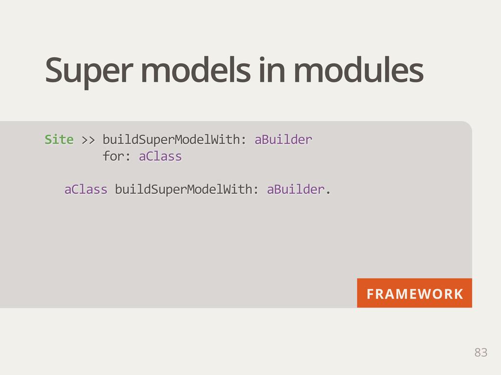 FRAMEWORK Super models in modules 83 Site >> ...