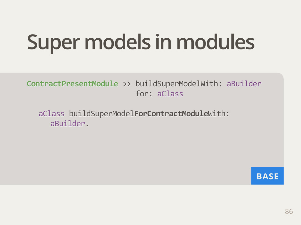 BASE Super models in modules 86 ContractPresent...