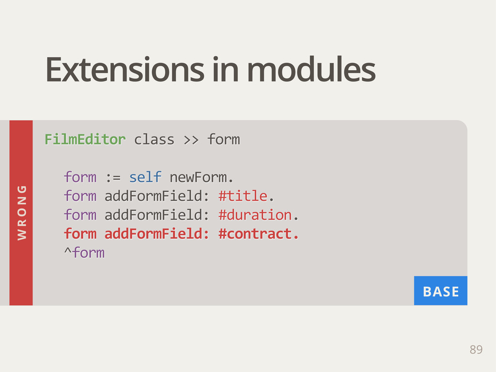 BASE Extensions in modules 89 FilmEditor class...