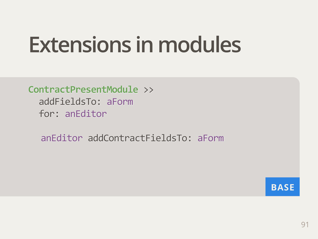 BASE Extensions in modules 91 ContractPresentMo...
