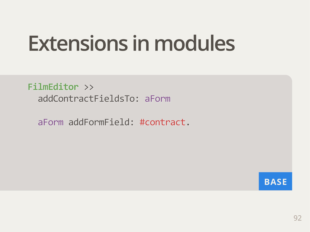 BASE Extensions in modules 92 FilmEditor >>  ...