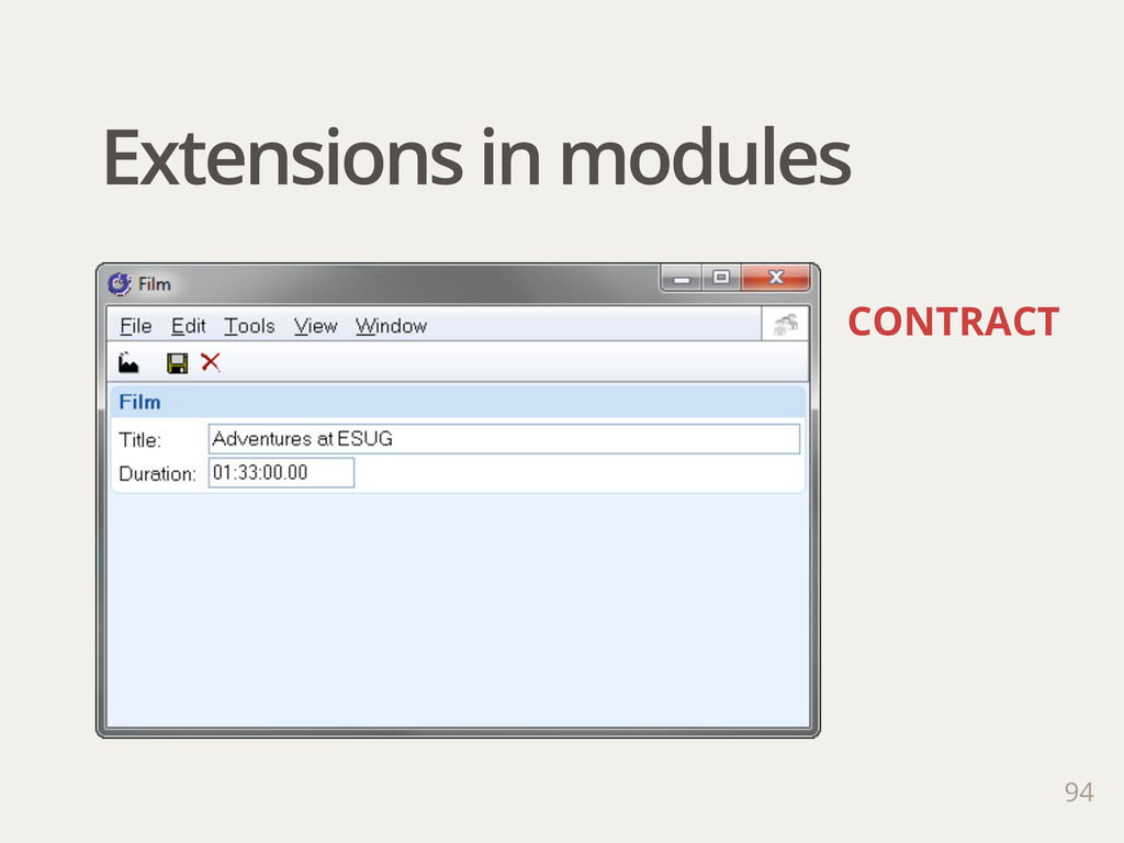 Extensions in modules 94 CONTRACT