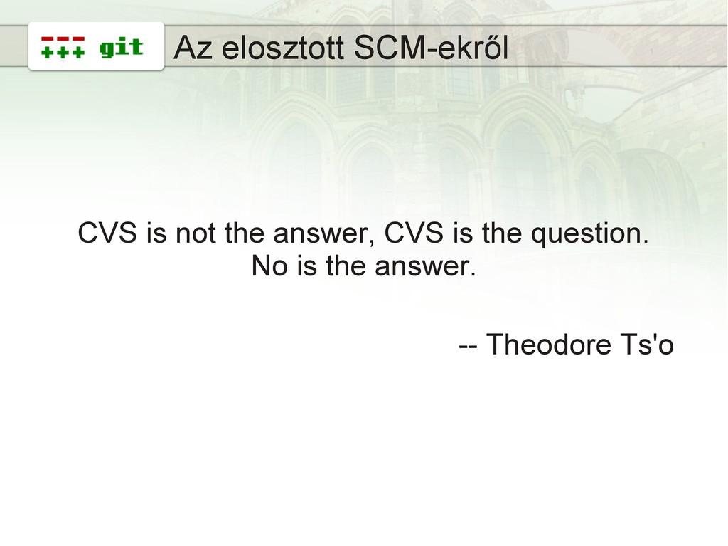 3 Az elosztott SCM-ekről CVS is not the answer,...