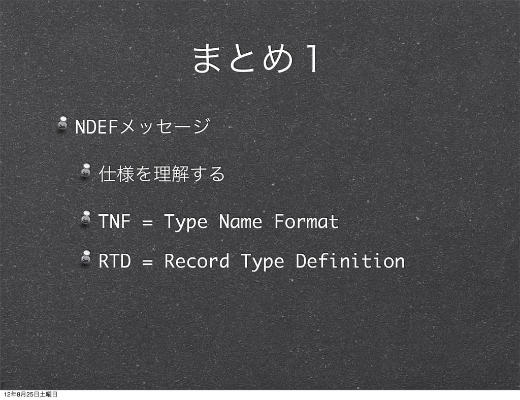 ·ͱΊ̍ NDEFϝοηʔδ ༷Λཧղ͢Δ TNF = Type Name Format R...