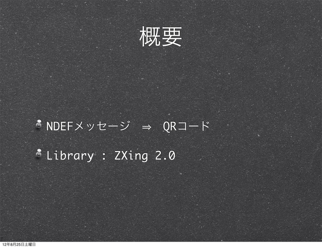 NDEFϝοηʔδɹ㱺ɹQRίʔυ Library : ZXing 2.0 ֓ཁ 128݄2...