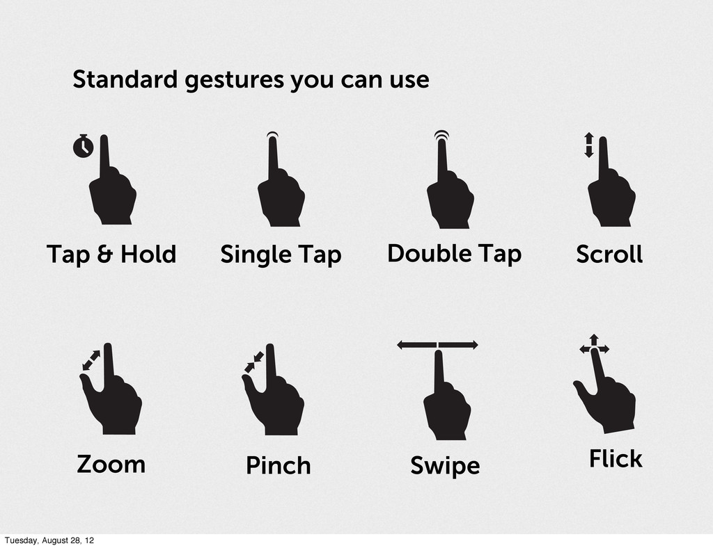 Standard gestures you can use Tap & Hold Single...