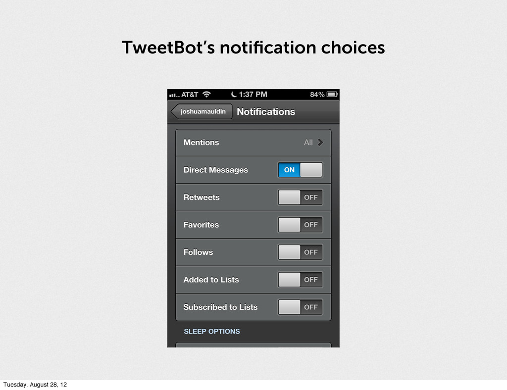 TweetBot's notification choices Tuesday, August ...