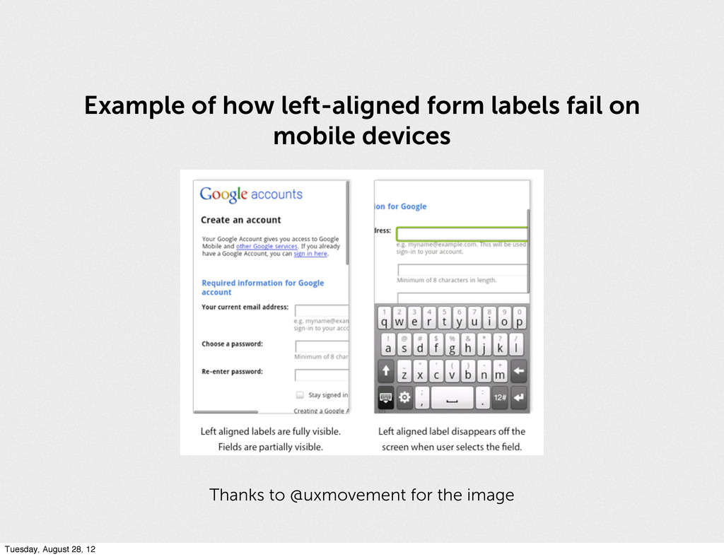 Example of how left-aligned form labels fail on...