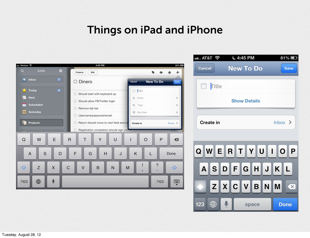 Things on iPad and iPhone Tuesday, August 28, 12