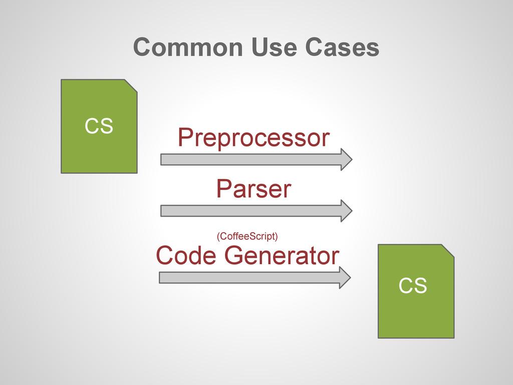 Common Use Cases CS Preprocessor Parser CS Code...