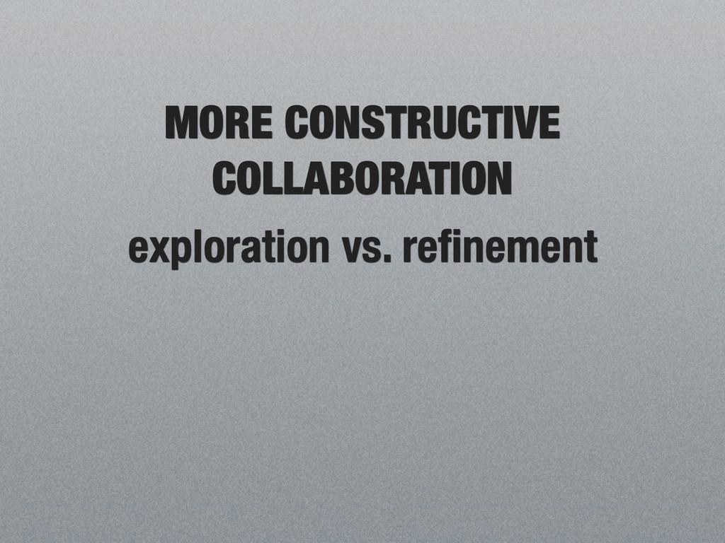 MORE CONSTRUCTIVE COLLABORATION exploration vs....