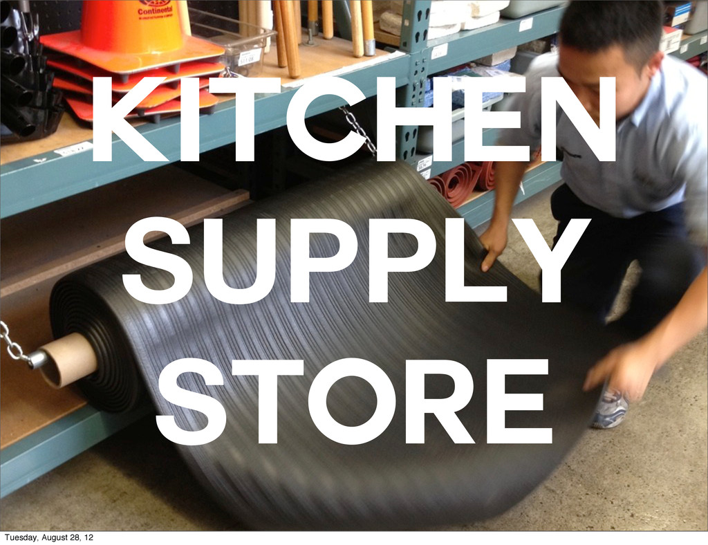 Kitchen supply store Tuesday, August 28, 12