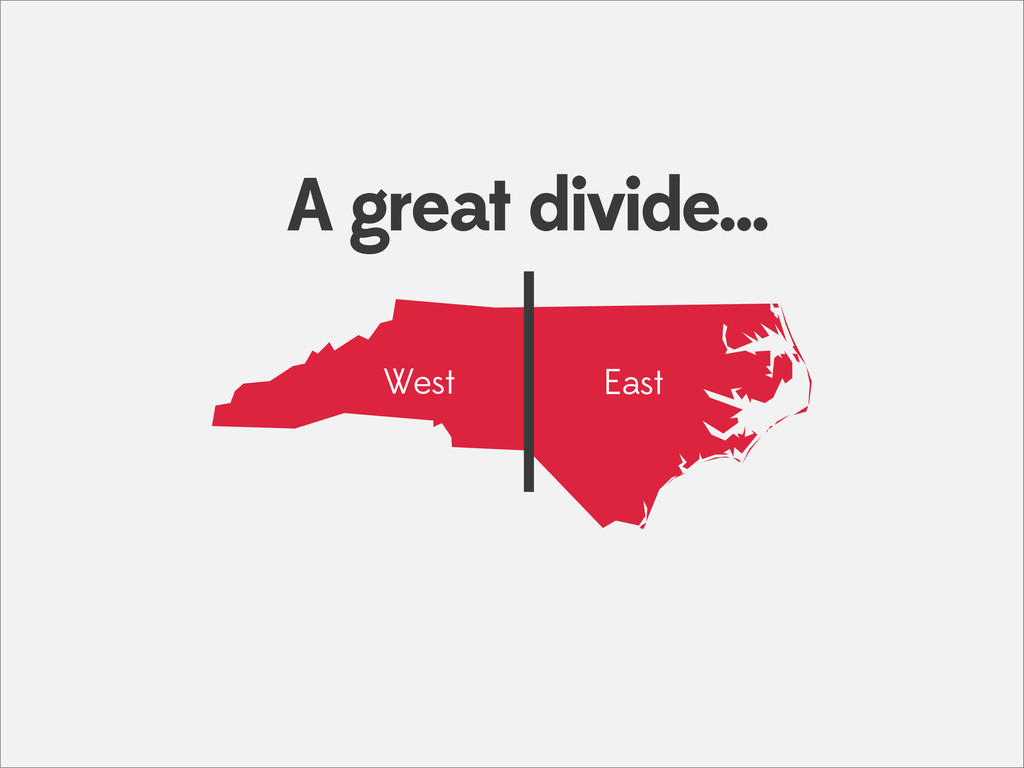a West East A great divide...