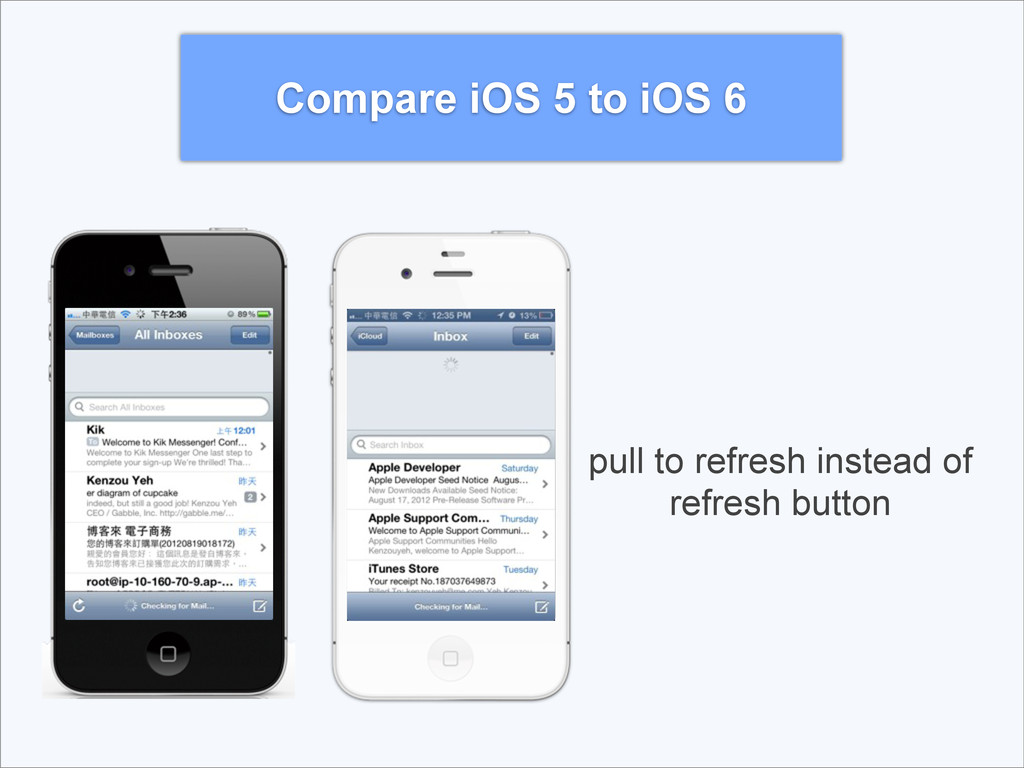 Compare iOS 5 to iOS 6 pull to refresh instead ...
