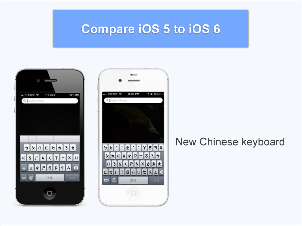 Compare iOS 5 to iOS 6 New Chinese keyboard