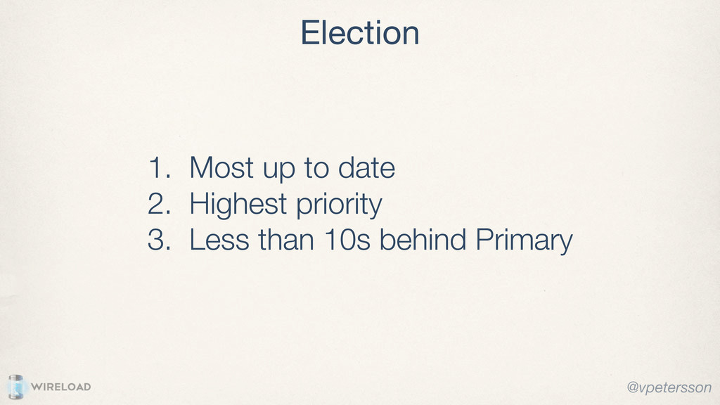 Election @vpetersson 1. Most up to date 2. High...