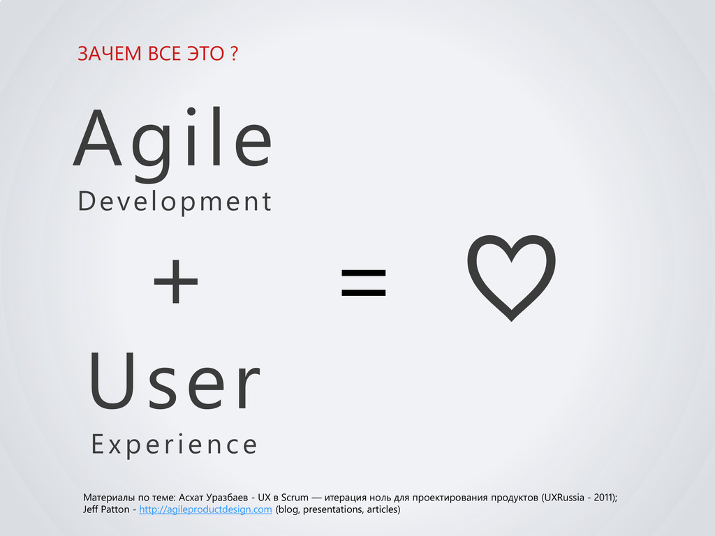 ЗАЧЕМ ВСЕ ЭТО ? Agile Development + User Experi...