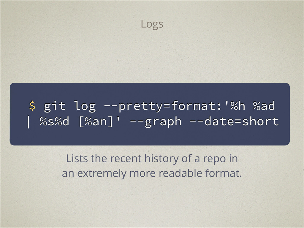 $ git log --pretty=format:'%h %ad | %s%d [%an]'...