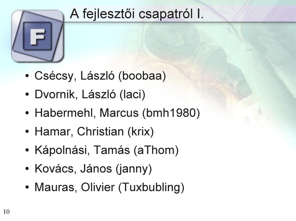 10 A fejlesztői csapatról I. ● Csécsy, László (...
