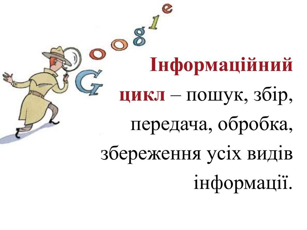 Інформаційний цикл – пошук, збір, передача, обр...