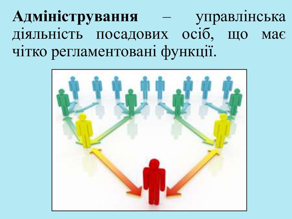 Адміністрування – управлінська діяльність посад...