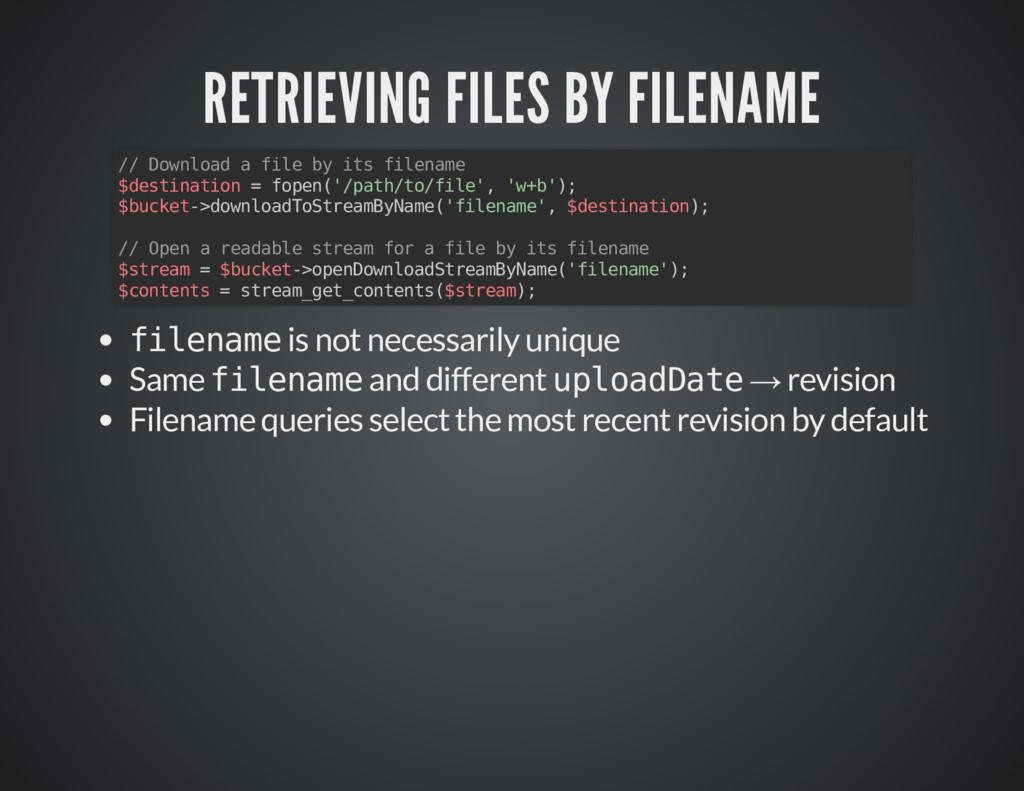 RETRIEVING FILES BY FILENAME RETRIEVING FILES B...