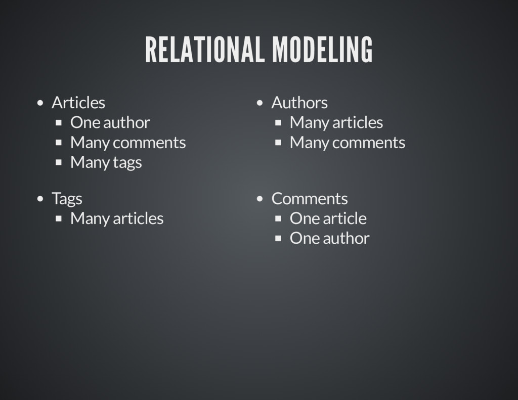RELATIONAL MODELING RELATIONAL MODELING Article...